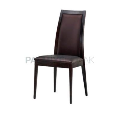 Ahşap Salon Modern Derili Kahve Sandalyesi