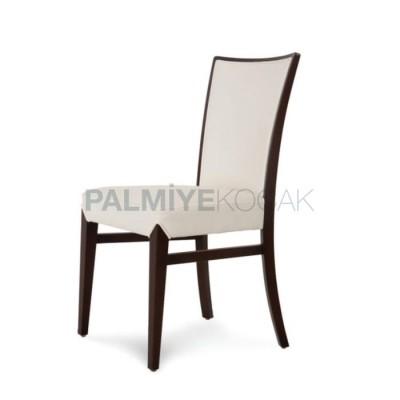 Modern Ahşaplı Kayın Döşemeli Beyaz Sandalye