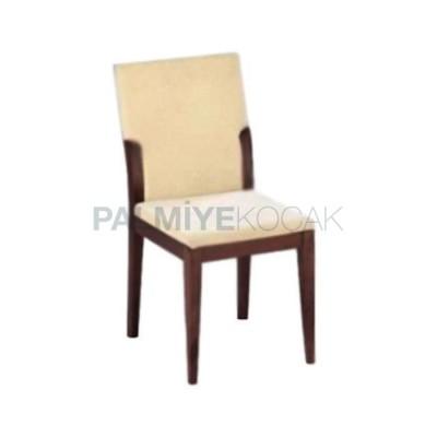Modern Boyalı Ceviz Koyu Kumaşlı Bej Sandalye