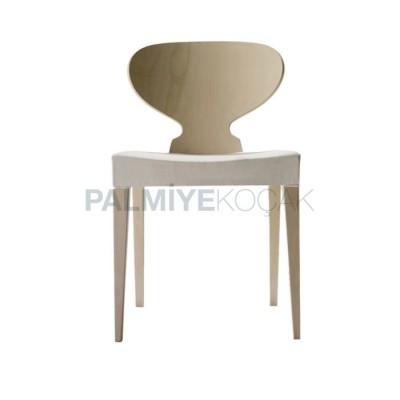 Modern Boyalı Meşe Natürel Sırtlı Oval Sandalye