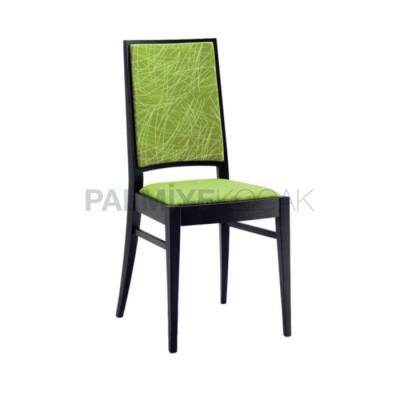 Modern Boyalı Siyah Döşemeli Kumaş Desenli Yeşil Fıstık Sandalye