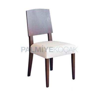 Modern Döşemeli Deri Beyaz Kontralı Sandalye