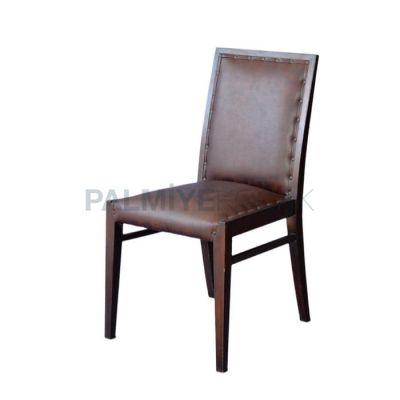 Modern Kabaralı Döşemeli Deri Kahve Sandalye