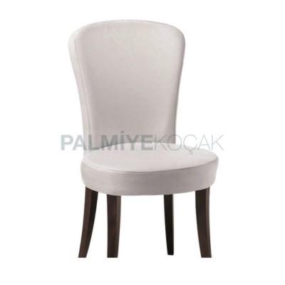 Modern Yuvarlak Döşemeli Kumaş Beyaz Sandalye