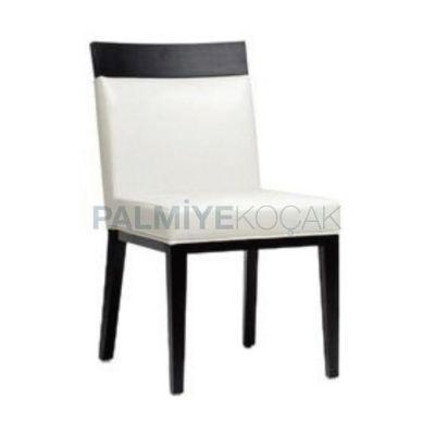 Restoran Derili Beyaz Tepeli Ahşap Sandalyesi