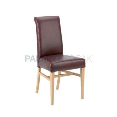 Restoran Döşemeli Deri Bordo Sandalyesi