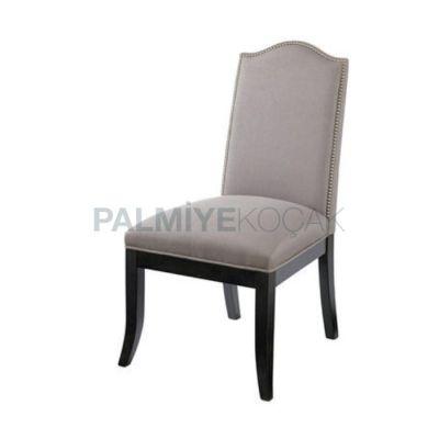 Salon Ayaklı Siyah Kumaşlı Gri Sandalyesi