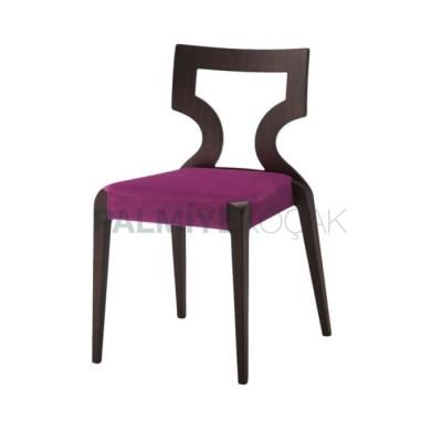 Salon Boyalı Venge Koyu Döşemeli Kumaş Mürdüm Sandalyesi