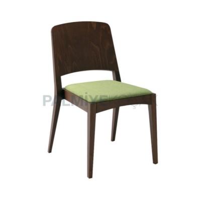 Sırtlı Kontra Boyalı Venge Minderli Yeşil Fıstık Sandalye