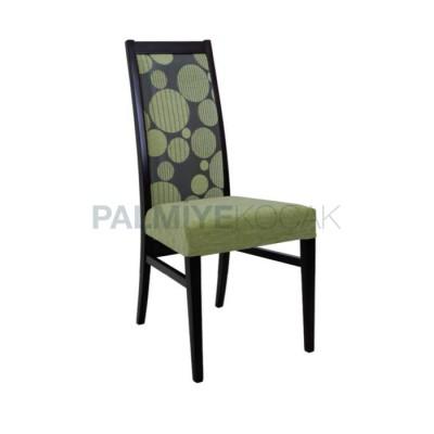 Yemekhane Modern Kumaşlı Desenli Yeşil Boyalı Siyah Sandalyesi