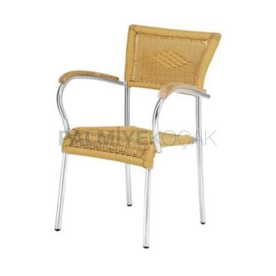 Alüminyum Örgülü Kollu Ahşap Sandalye