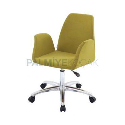 Ayaklı Krom Tekerlekli Yeşil Fıstık Sandalye