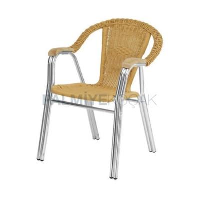 Bahçe Alüminyum Örmeli Plastik Sandalyesi