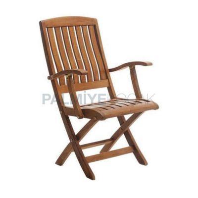Bahçe Kollu Katlanır İroko Sandalyesi