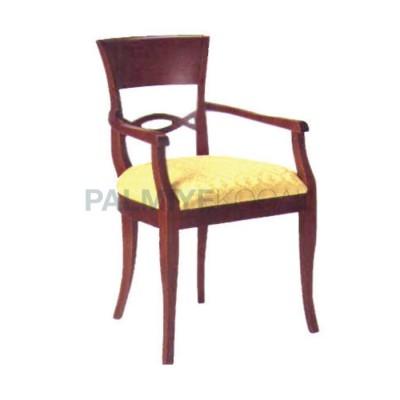 Bej Sandalye Kollu Ahşap Klasik Kumaşlı