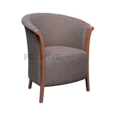 Boyalı Ahşap Döşemeli Kumaş Gri Sandalye