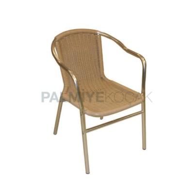 Cafe Kollu Alüminyum Boyalı Örgülü Rattan Sandalyesi