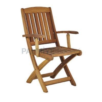 Cafe Kollu Katlanır Teak Sandalyesi