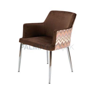 Desenli Kumaş Kahve Sandalye Poliüretan Kollu Sandalye