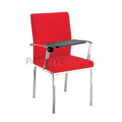 Deskli Ayaklı Krom Derili Kırmızı Sandalye