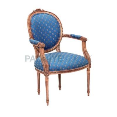 Döşemeli Kumaş Mavi Tornalı Sandalye