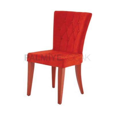 Kapitoneli Kumaşlı Kırmızı Sandalye