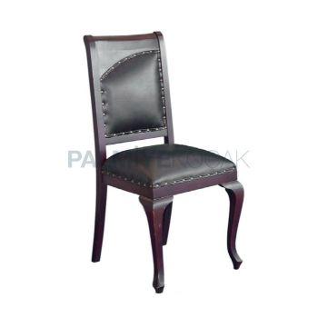 Ahşap Döşemeli Deri Siyah Boyalı Kızıl Sandalye