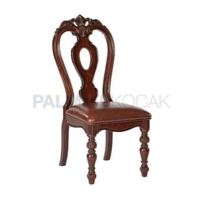 Ahşap Klasik Oymalı Döşemeli Deri Kahverengi Ayaklı Torna Sandalye