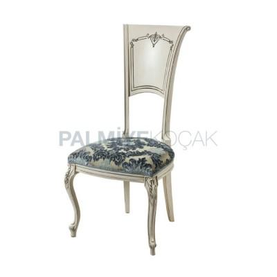 Ahşap Klasik Patinalı Lake Beyaz Sandalye