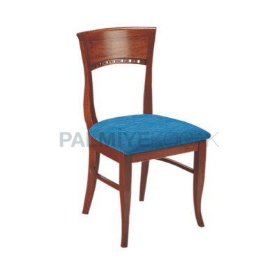 Klasik Boyalı Ceviz Kumaşlı Mavi Sandalye