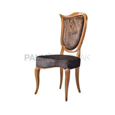 Klasik Döşemeli Deri Nubuk Siyah Eskitme Açık Sandalye