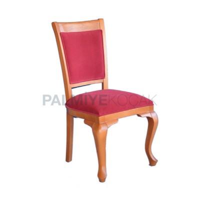 Klasik Döşemeli Kumaş Bordo Ayaklı Lükens Boyalı Natürel Sandalye