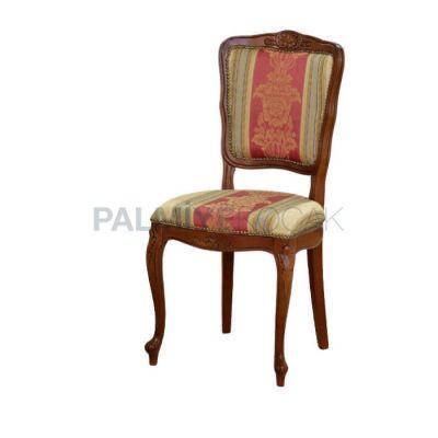 Klasik Kumaşlı Desenli Boyalı Ceviz Ayaklı Lukens Sandalye