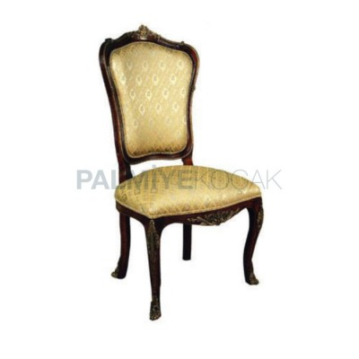 Klasik Kumaşlı Taftalı Oymalı Eskitme Koyu Sandalye