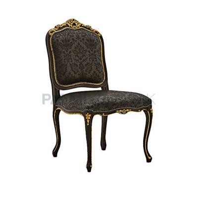 Klasik Yaldızlı Oymalı Ayaklı Lukens Boyalı Siyah Sandalye