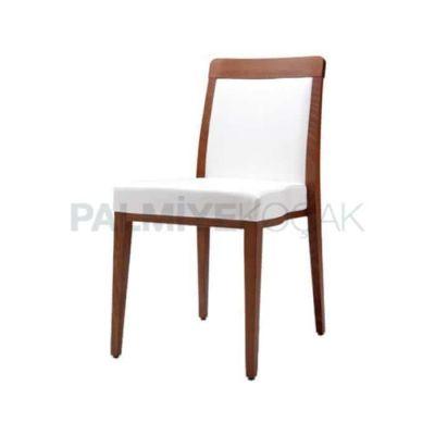 Restoran Cafe Otel Boyalı Eskitme Döşemeli Deri Beyaz Sandalyesi