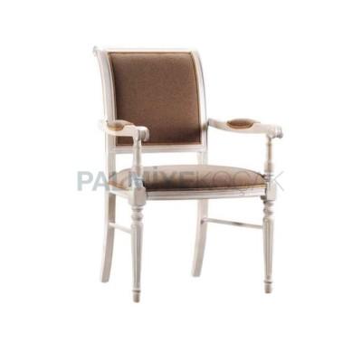 Klasik Tornalı Döşemeli Kumaş Kahve Boyalı Lake Beyaz Sandalye