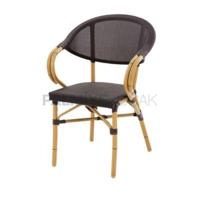Kollu Alüminyum Meshli Siyah Sandalye
