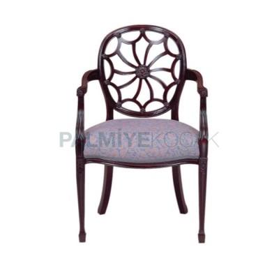 Kollu Döşemeli Kumaş Lila Oymalı Sandalye