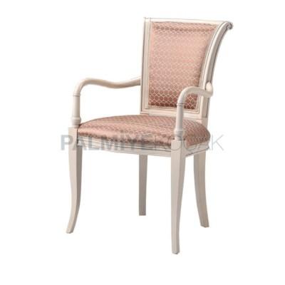 Kollu Klasik Boyalı Beyaz Sandalye