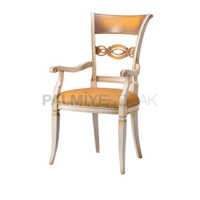 Kollu Klasik Döşemeli Deri Lakeli Beyaz Oymalı Sandalye
