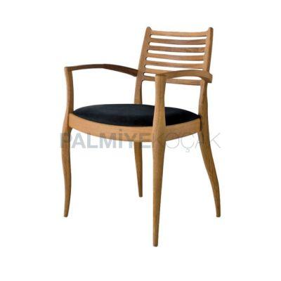 Kollu Klasik Döşemeli Siyah Sandalye