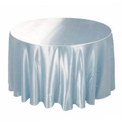 Masası Banket Yuvarlak Saten Beyaz Örtüsü
