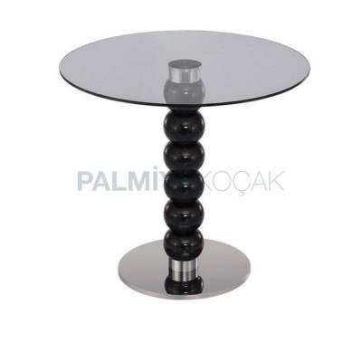Kafe Camlı Tornalı Lake Siyah masası