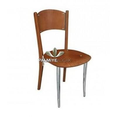 Metal Boyalı Ceviz Kontralı Sırtı Sandalye