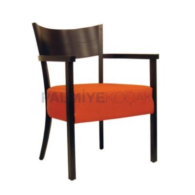 Ahşap Boyalı Venge Döşemeli Deri Turuncu Sandalye