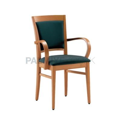 Boyalı Natural Döşemeli Siyah Kollu Papel Sandalye