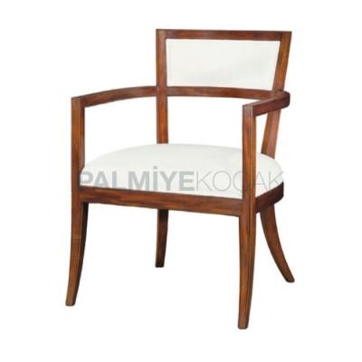 Kollu Moderen Boyalı Ceviz Açık Deri Beyaz Sandalye