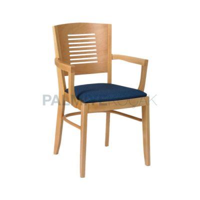 Kollu Restoran Boyalı Natural Ahşap Sırtlı Kontra Sandalyesi