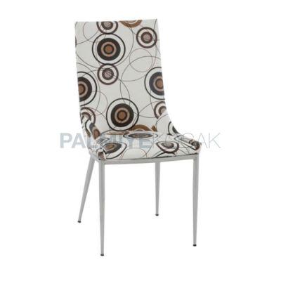 Krom Döşemeli Deri Desenli Sandalye